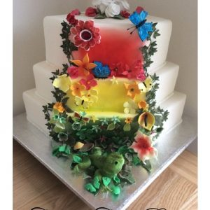 Rainforest inspired wedding cake bright colours red, green,yellow