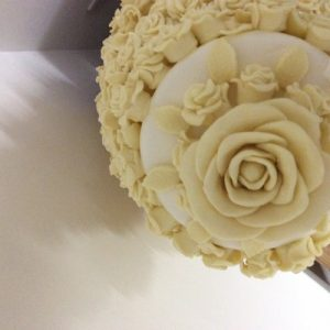 top view of 6 tier chocolate rose cake