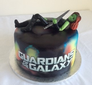 Guardians of the galaxy cake with Gamora figure on top