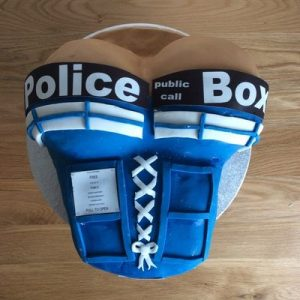 police box basque cake