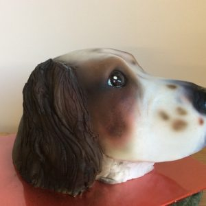 3D sculped dog head cake