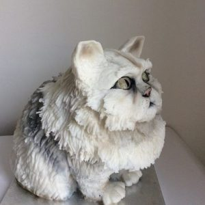3D moulded Persian cat cake,side view