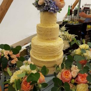 4 tiered wedding cake semi-naked