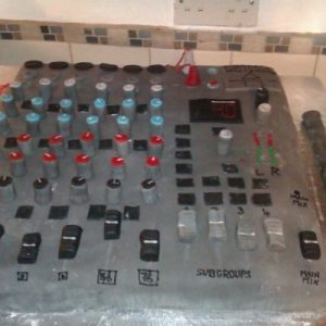 Giant mixing desk cake
