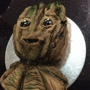 sculpt ed baby Groot cake with ivy detail, side view