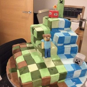 minecraft cake. green, blue and brown with creeper,skeleton and man detail