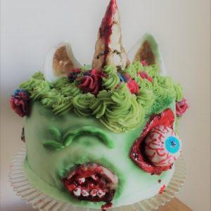 green zombie horror unicorn cake