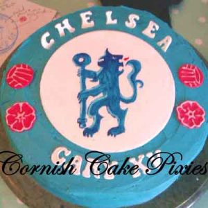 Blue cake with Chelsea logo hand painted on top, finished with the words Gary XV