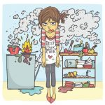 kitchen disaster cartoon