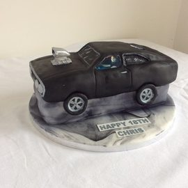 Fast and furious Dodge care shaped cake